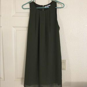 NWOT Naked Zebra Pleated Olive Dress